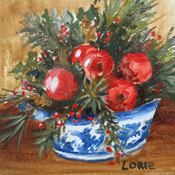 Christmas Apples  in Blue Transfer-ware